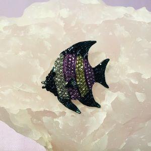 Purple Angel Fish Brooch Crystal Pin  NWT